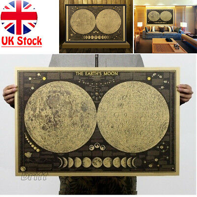 Vintage Retro Paper Earth's Moon World Map Poster Wall Chart Home Bedroom Decor