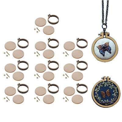 10 x Mini Wood Cross Stitch Hoop Embroidery Circle Frame for Pendant Making