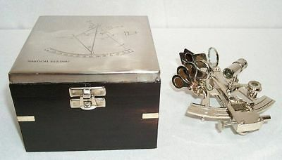 G1003: Silver Nautical Mirror Sextant in Ebonized Wooden Box, Nickel-Plated
