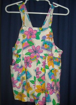 Girl VTG Tropical Overalls Shorts 2T Flowers Post Cards BG136