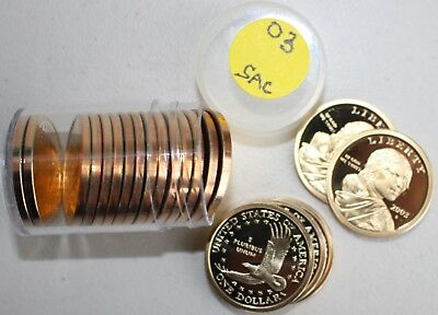 One Roll 2003 S SACAGAWEA Golden Dollar Native American PROOF US $1 Coins