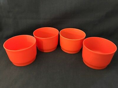 Vtg Tupperware Tangerine Orange Snack Cups Lunch Box Storage Containers Set of 4