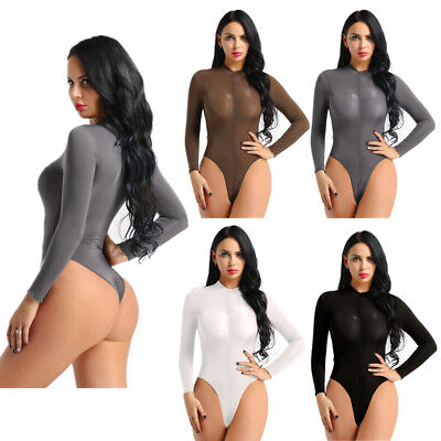 Women Long Sleeve Sheer  Mesh Bodysuit  Zipper High Cut Thongs Leotard Lingerie