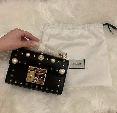 be6cca13baa BRAND NEW! GUCCI Padlock Small Pearl-embellished Studded Leather ...
