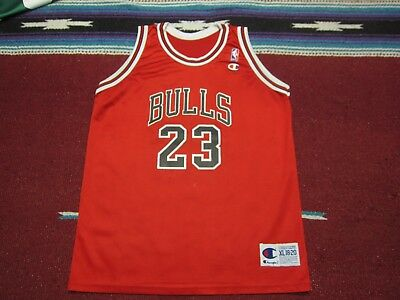VTG 90s Champion NBA Chicago Bulls  23 Michael Jordan Jersey Shirt Red XL  18- 815afc264