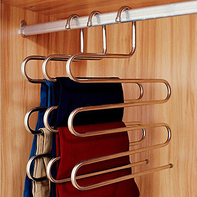 Pants Trousers Hanging Clothes Hanger Layers Clothing Storage Space Saver