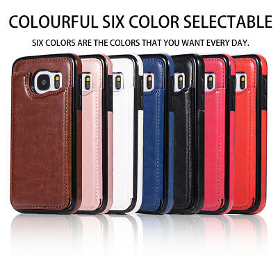 Dooqi Leather Wallet Case Card Slot Flip Cover For Samsung Galaxy S7 / S7 Edge