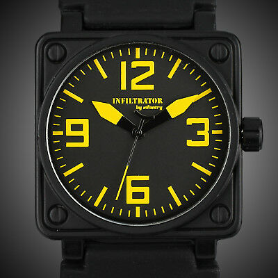 Infantry Infiltrator Men'S Analog Wrist Watch Yellow Sport Military Black Rubber
