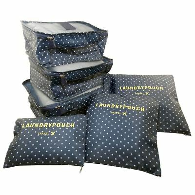 Navy Blue 6 Pcs Clothes Storage Bags Waterproof Packing Travel Luggage Organizer
