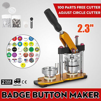"58mm(2.28"") Button Maker Rotate Machine 100Pcs Cutter Bottle Openers Badge"
