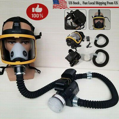 Electric Constant Flow Supplied Air Fed Full Face Gas Mask Respirator+US Stock