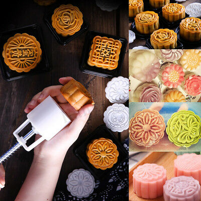 50g Round Cake Mold Mooncake Mould 6 Stamps Flower Moon Cake Decor Baking