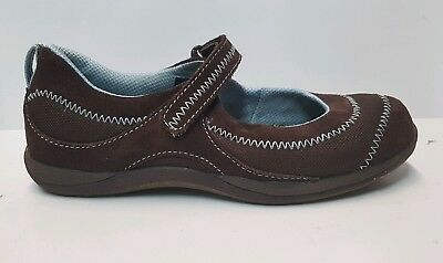 0b8ac72895089 LL Bean Mary Jane Suede Sneakers - Girls  3 ~ Brown w Blue Stitching ☆