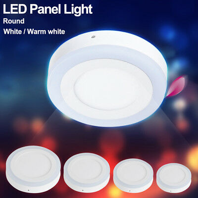White/Blue Room Hall Round Lights Surface Mount LED Panel Ceiling Flat Lamp 197