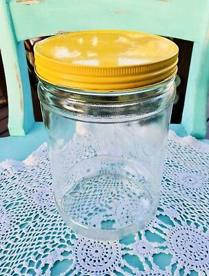 VINTAGE PABLO COFFEE GLASS JAR, YELLOW PAINTED TIN LID 19x12cm