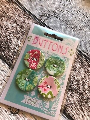 Tilda Sunkiss Range Buttons 28mm x4 fabric covered