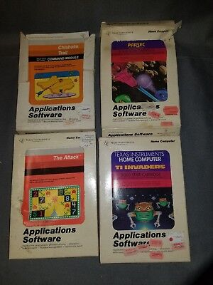 TI-99/4A TEXAS Instruments Computer Video Game Lot 4 Games Parsec TI  Invaders