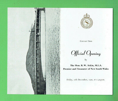 #D274.   1970  Nsw Carcoar Dam Official Opening Pamphlet