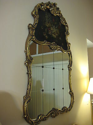 """Antique Louis XV Style French 12 Pieces Wall Mirror w/Gilt Wooden Frame, 62"""" T"""
