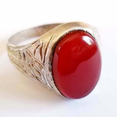925 sterling silver ring natural antique dark red carnelian yemeni agate aqeeq