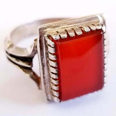 925 sterling silver  ring natural cherry red carnelian agate aqeeq akik