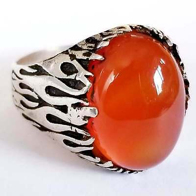 925 sterling silver ring natural cherry red carnelian agate aqeeq arabic agate