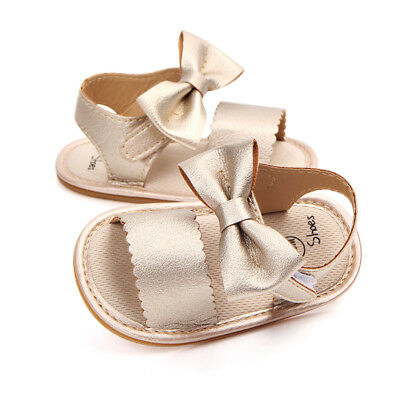 Newborn Baby Princess Shoes Girl's Summer Soft Crib Sole Sandal Bowknot Sandals