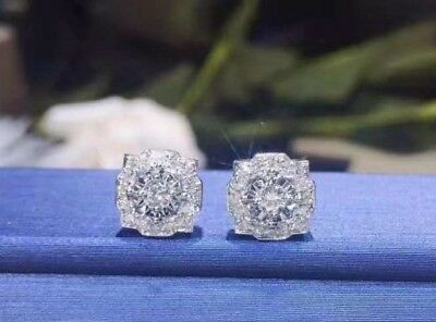 3.20Ct Round Cut Diamond Antique Halo Fancy Stud Earrings In 14k White Gold Over