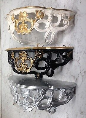 Wall Bracket Mirror Console Antique Baroque Style Rococo 40x17 Shelf Flower Bank