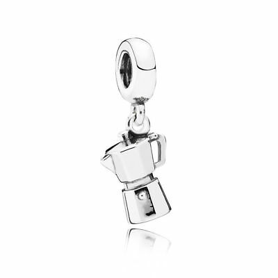 New Authentic Pandora Silver 925 ALE Coffee Lovers Dangle Charm #791519 w/ Pouch