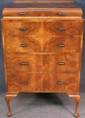 1930s Art Deco Burr And Figured Walnut Chest Of Drawers