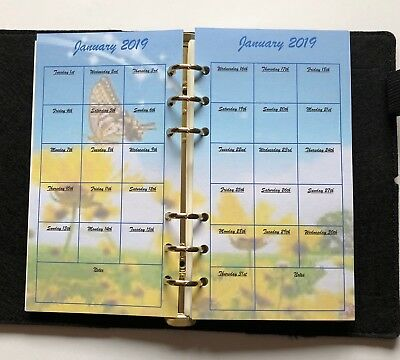 Filofax Personal Planner 2019 Diary Jan - Dec Monthly Calendar - Flower Pictures