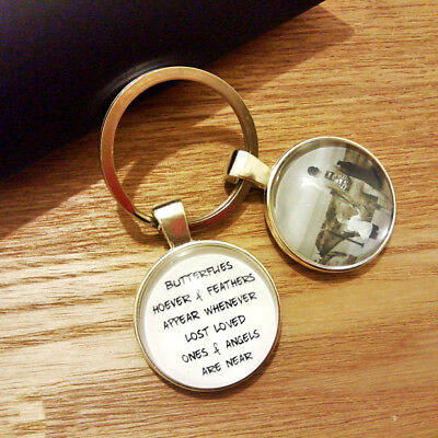 Personalised Photo Keyring - Memorial In Memory Bereavement Butterfly Lost Loved