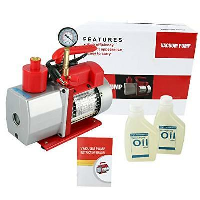 110V, 60Hz Rotary Vane Vacuum Pump Advanced 5 CFM 2 Stage 1/2HP HVAC with Gauge