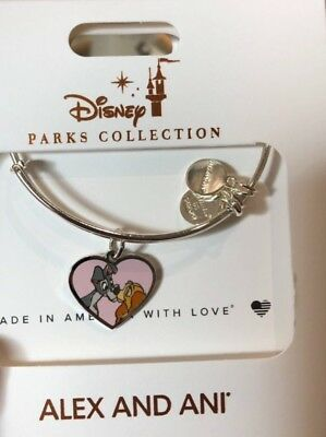 NEW Disney Parks Alex & Ani LADY & THE TRAMP Silver Bracelet IN HAND VALENTINES
