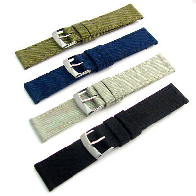 Replacement Watch Strap CORDURA Fabric Leather Lining 4 Colours 18mm - 24mm