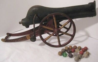 """Awesome Victorian Antique Cast Iron Toy Marble Cannon Big 16"""" w Old Marbles 1895"""