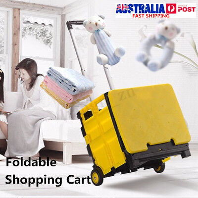 Portable Shopping Cart Trolley Foldable Pack & Roll Folding Grocery Basket Crate
