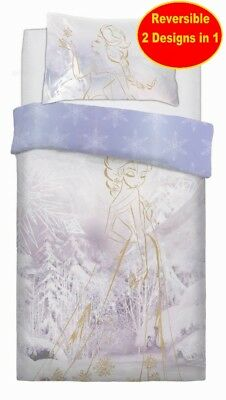 New Disney Frozen Single Duvet Quilt Cover Set Girls Kids White Bed Gift