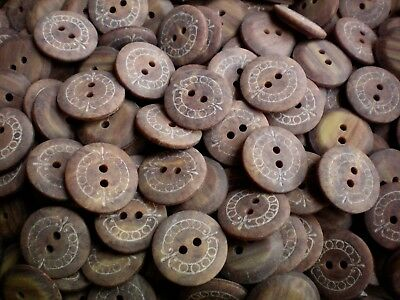 20mm 32L Light Brown Wooden Wood Effect Natural Craft 2 Hole Buttons (S83)