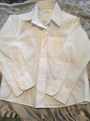Girls White Long Sleeved School Shirt Blouse Age 3 By M&S Ex Cond