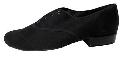 Freed Mens Oxford Style Black Canvas Ballroom Shoes low Heel