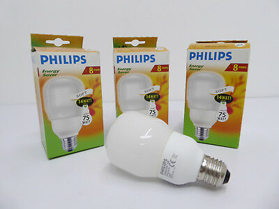 3X PHILIPS AMBIANCE Softone T65 E27 14W Energiesparlampe