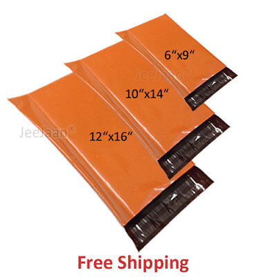 MIXED SIZES x 50 Orange Bags Mailing Mail Parcel Post Plastic Strong Poly