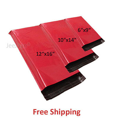 MIXED SIZES x 50 Red Bags Mailing Mail Parcel Post Plastic Strong Poly Packaging