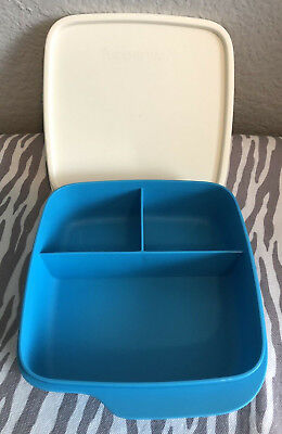 Tupperware Lunch-It® Container Portion Divided Dish Airtight Seal Blue New