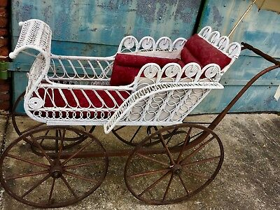 Vintage Antique Victorian Baby Carriage Buggy Stroller Wicker Wooden