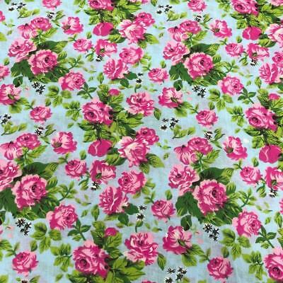 (DD) 100% Cotton Fabric Material Printed Roses: Pink & Sky Blue 150cm - Floral