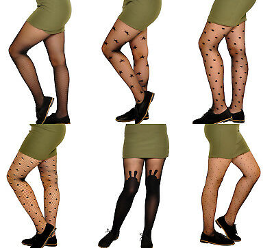 Older girls black pattern sheer party everyday tights 9-15 years