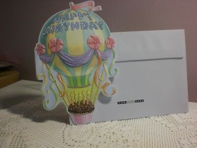Carol's Rose Garden - Happy Birthday - A Hot Air Balloon with cupcake on cover